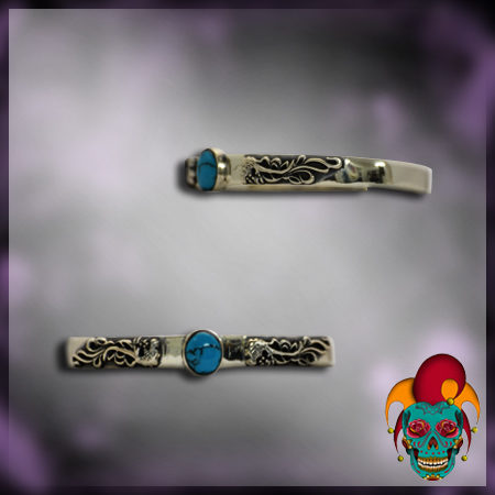 Turquoise Stone Centered Silver Bangle