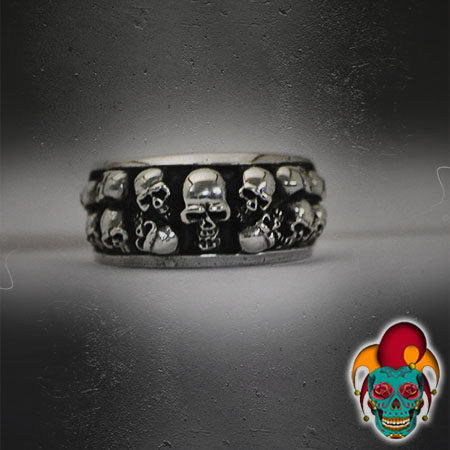Skull Layers Silver Ring