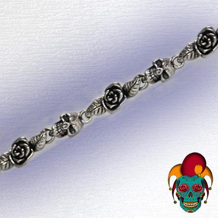 Rose and Skull Silver Bracelet