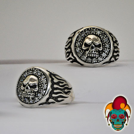 Stylish Framed Skull Silver Ring