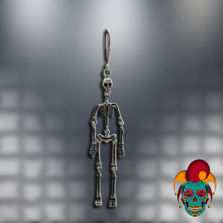 Dangling Skeleton Silver Earrings