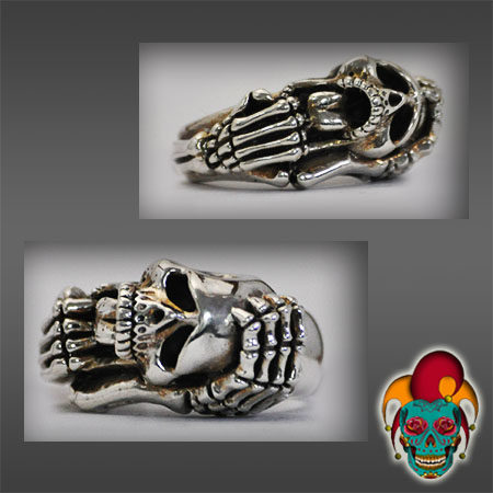 Skeleton and Skull Silver Ring