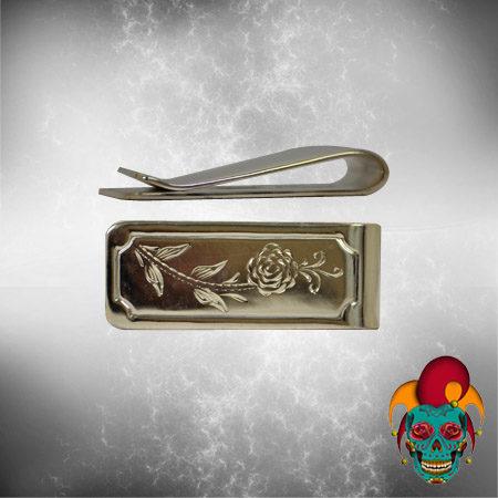 Flower Design Silver Money Clip