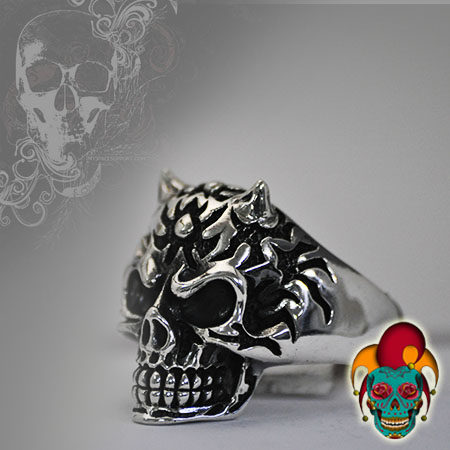 Skull with Horns Silver Ring