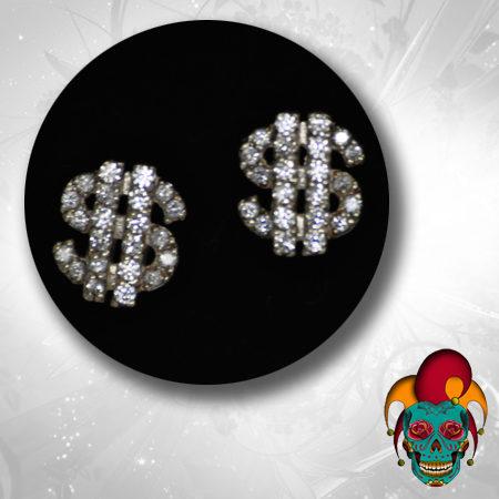 Dollar Sign Silver Earrings
