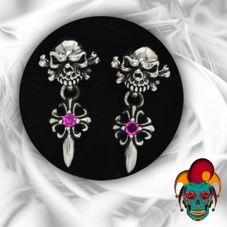 Dangling Skull Silver Earrings