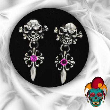 Dangling Skull Silver Earrings