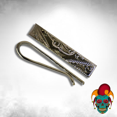Thin Carved Silver Money Clip
