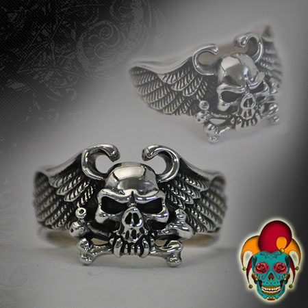 Flying Evil Skull Silver Ring
