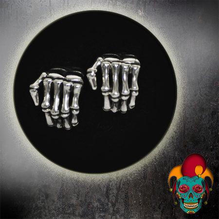 Skeleton Hands Silver Earrings