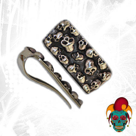 Multiple Skull Silver Money Clip