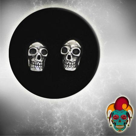 Empty Eyed Skull Silver Earrings