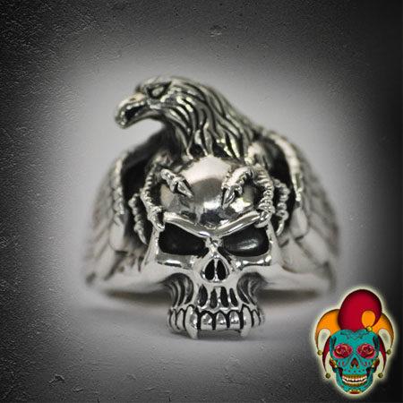 Eagle Skull Silver Ring