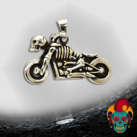 Skeleton Biker Silver Pendant