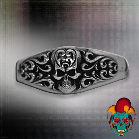 Skull Centered Silver Bangle